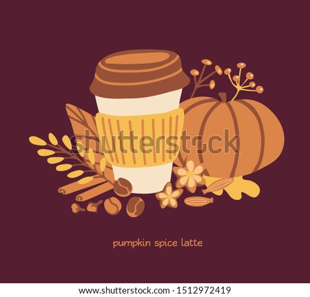 Vector card design Pumpkin spice latte on dark brown background. Hand drawn doodle pumpkin, leaves, twigs, seeds and spices with paper take away coffee cup. Fall season illustrationin flat style.