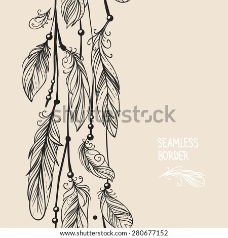Vector card design with seamless border in bohemian style