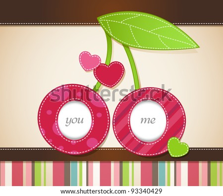 Vector card design with two cherries together - stock vector
