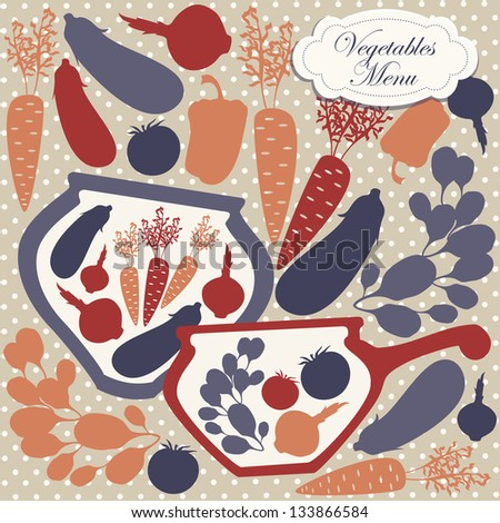 Vector card design with vector silhouettes of artistic  plates and dishes with decorative vegetables.
