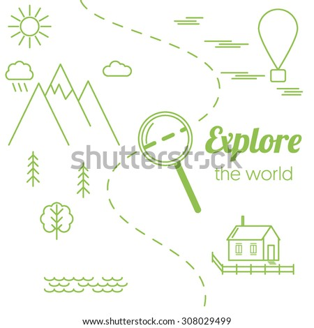"Stock Photo Vector card ""Explore the world"" with linear landscape, loupe (magnifying glass). Flat infographic elements"