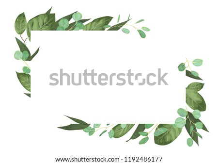 Vector card floral design with green watercolor, herbs, leaves eucalyptus, lily leaves, botanical green, decorative frame, horizontal rectangle. Cute greeting, postcard template, wedding invite