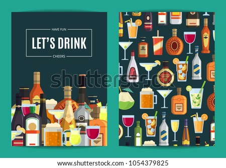 Vector card, flyer or brochure template for bar, pub or liquor store with alcoholic drinks in glasses and bottles. Whiskey and beverage alcohol illustration
