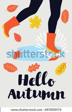 vector card   hello autumn