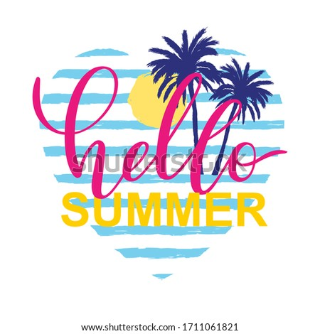 Vector card Hello Summer with palm tree, sun on blue strips in heart frame background. Summer season banner and typography lettering with hand drawing graphic decor elements.    stock photo