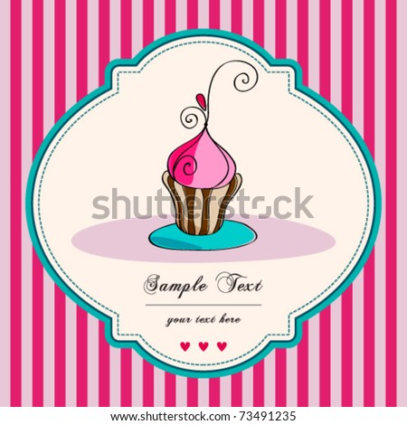Vector card. Illustration of cute retro cupcake on striped background