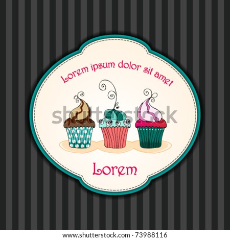 Vector card. Illustration of cute retro cupcakes on striped background
