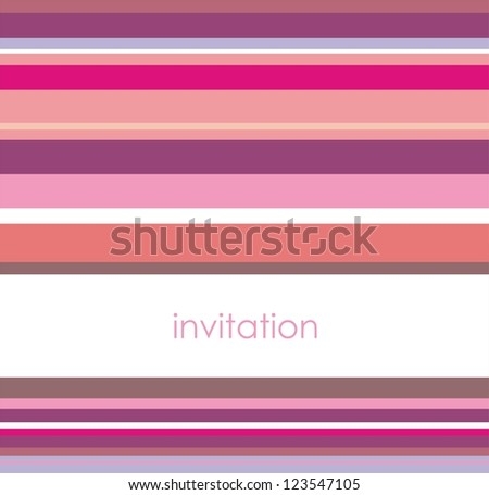 Vector card or invitation with horizontal pink, violet and white stripes. Background with white area to put your own text message. Happy, party colors for birthday, baby shower or wedding invitation