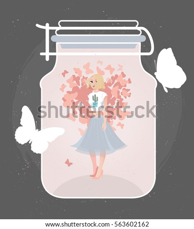 vector card print with girl in