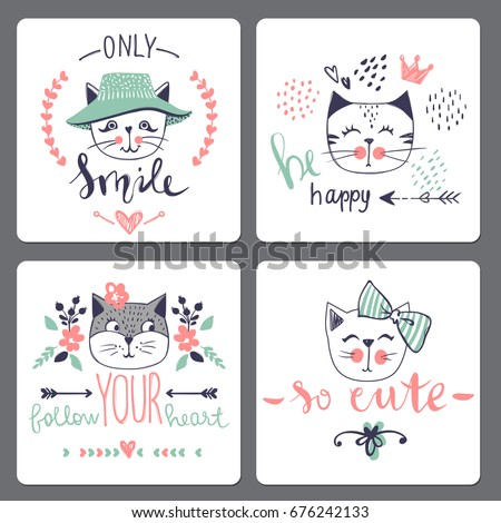 vector card series with cute