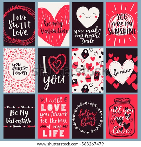 vector card set for valentines