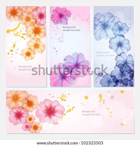 Vector card set with floral ornament design