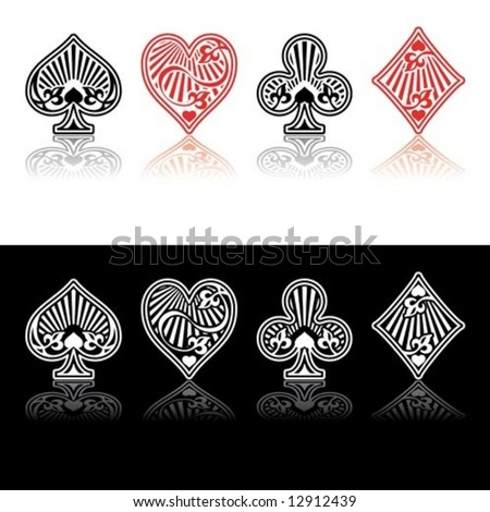 Vector card symbols red and black with shade - stock vector