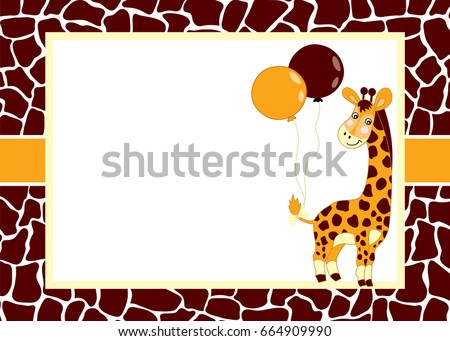 Vector card template with a cute giraffe and balloons. Card template for baby shower, birthdays and parties. with space for your text. Vector baby boy. Vector baby girl. Vector baby giraffe.