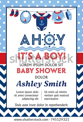 Vector card template with baby boy clothes hanging on line. Baby boy clothes in nautical style. Card template for baby boy shower on polka dot background. Vector baby boy shower. Vector illustration