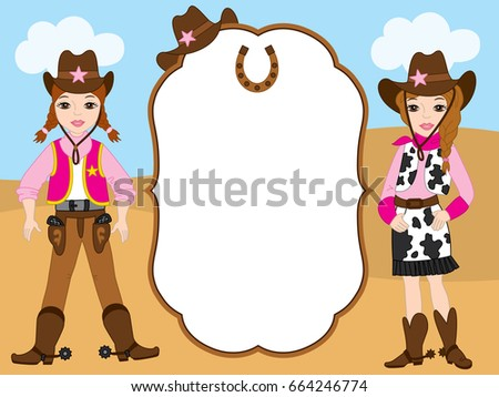 Vector card template with cute cowgirls. Card template for girl's birthday and parties with space for your text. Vector cowgirl. Vector illustration.