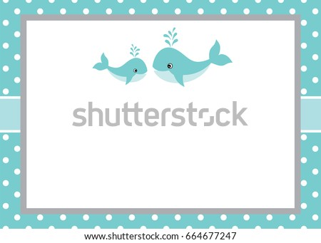 Vector card template with cute whales on polka dot background. Card template for baby boy shower, birthdays and parties with space for your text. Vector baby whale. Vector baby boy.
