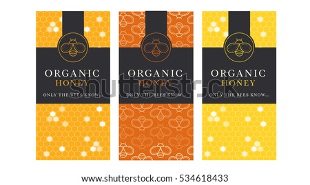 Vector card template with honey bee emblems and seamless pattern. Natural honey tags collection (organic honey). Warm color palette of golden tints with black