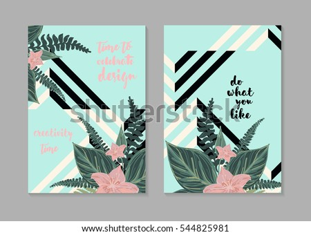 Vector card templates set with flowers and geometric.Template for Wedding, Shower ,Birthday, Valentine's day, Congratulations, Invitations , Planners.
