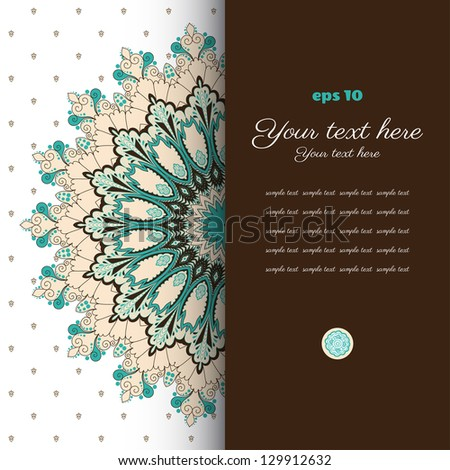 Vector card. Vintage round damask pattern. Place for your text. Perfect for invitations, announcement or greetings. Easy to change colors.