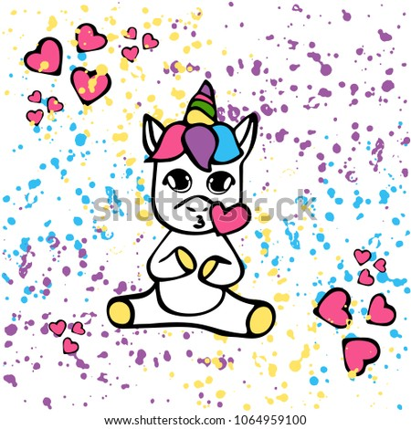 Vector card wiht funny unicorn  on bright texture background. Cartoon style. Unicorn's kid for children #1064959100