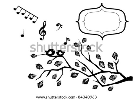 vector card with birds and musical notes
