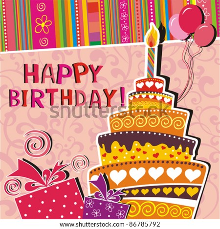 Vector card with birthday cake