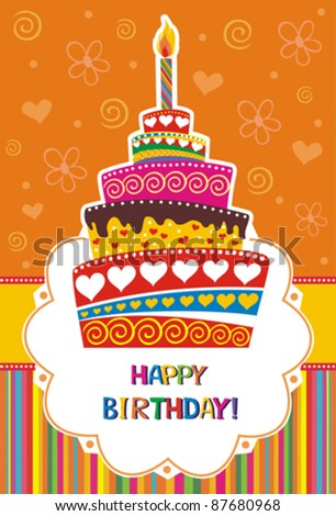Vector card with birthday cake. Vector Illustration