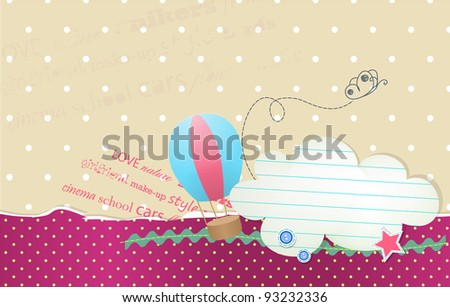 Vector card with bubble cloud for text and balloon