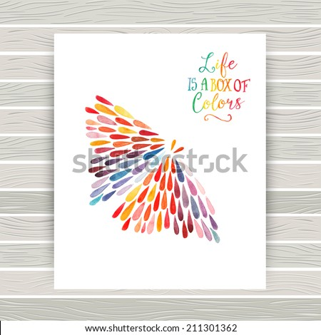 vector card with butterfly made