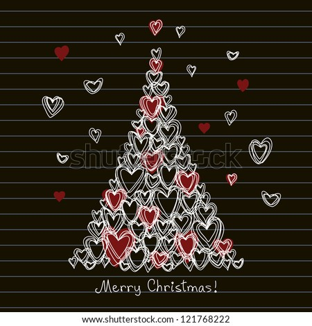 Vector card with christmas tree made from hearts of doodles. Festive childish hand drawn background on blackboard with greeting lettering. Abstract illustration for invitation in pencil sketch style