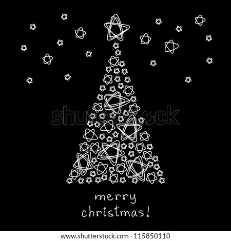 Vector card with christmas tree made of stars. Black background in childish hand drawn style with shapes of doodles and lettering - Merry Christmas. Holiday illustration for invitation and greeting