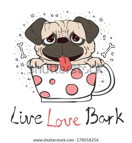 vector card with cute pug puppy