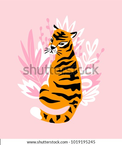 vector card with cute tiger on