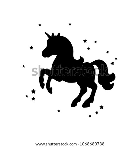 Vector card with cute unicorn. Magic unicorn poster, greeting card. Black silhouette of a unicorn on a white background. #1068680738