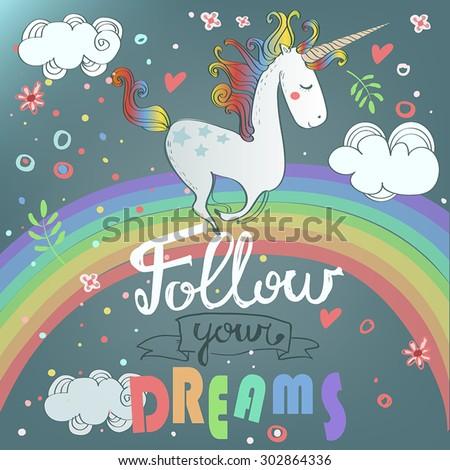 vector card with cute unicorn
