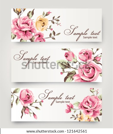 vector card with cute vintage  flower,floral