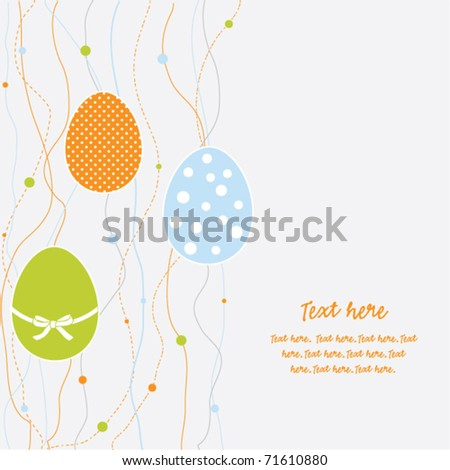Vector card with easter eggs