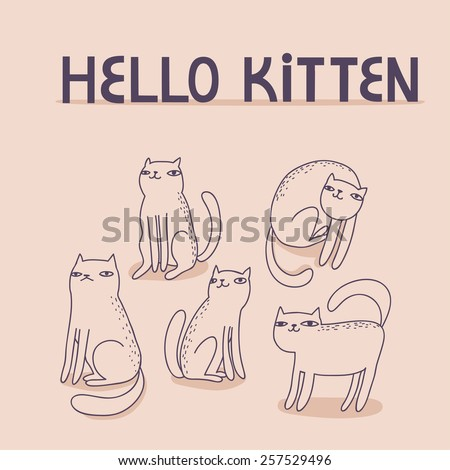 vector card with funny cats and