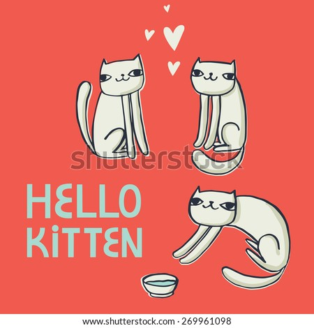 vector card with funny cats