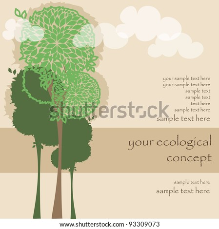 vector card with green trees for ecology concept