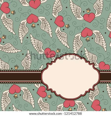 Vector card with hearts - stock vector