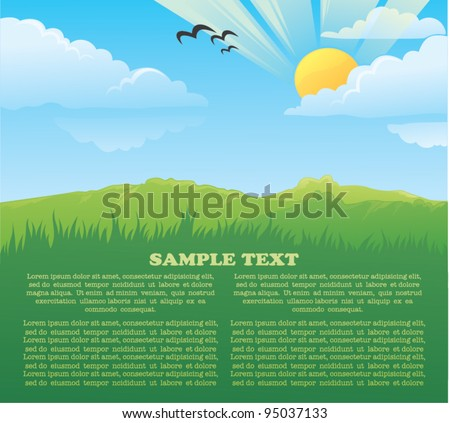 vector card with image of beautiful summer landscape