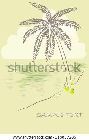 Vector card with palm on the beach