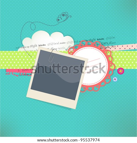 Vector card with place for photo and text