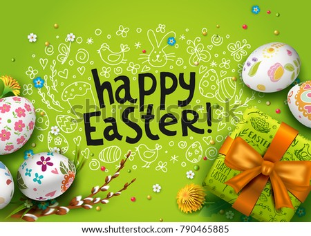 Vector Card With Realistic 3D Eggs Gift Box And Flowers Handwriting Inscription Happy Easter