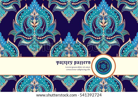 Vector card with ribbon. Floral oriental pattern on dark background. Place for your text.