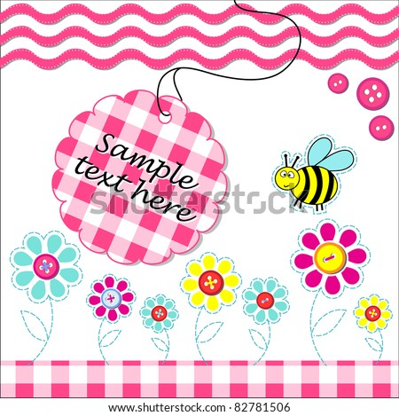 Vector card with scrapbook baby elements - stock vector