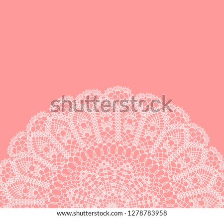 vector card with semicircle lace ornament on pink background