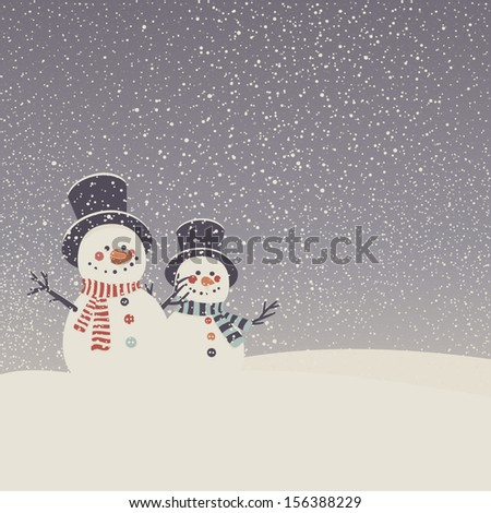 Vector card with snowmen and snowfall. Merry Christmas greeting card.